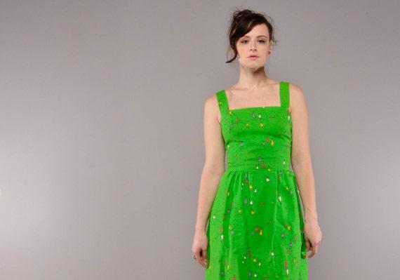 Vintage Malia Sundress // Bright Green // Novelty Print Dress // M L