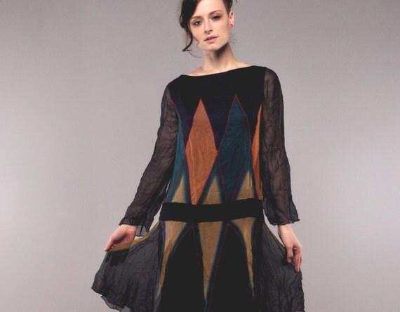 Vintage Silk Dress // Drop-Waist Dress // Silk Chiffon Flapper //
