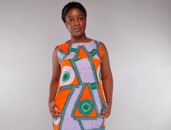 RESERVED -  Vintage Handmade Bold Print Sundress .. Handmade Hippie Dress .. XL .. Plus Size