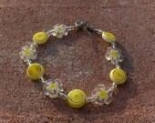 Yellow and White Flower Swirl Sunshine Bracelet