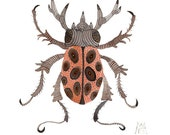 Stag Beetle original watercolor painting