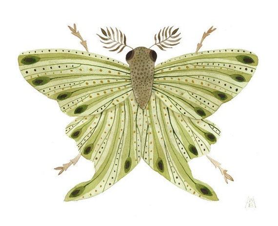 Giant Silkworm Moth No. 3 original watercolor painting