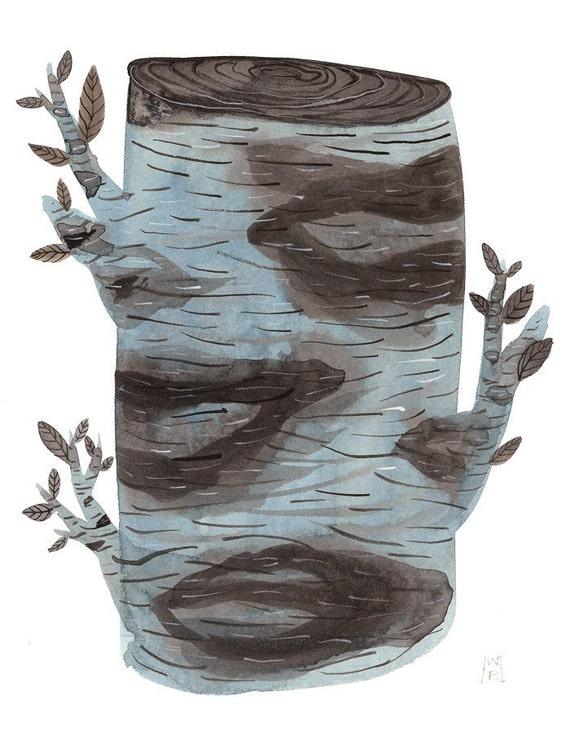 Birch Log original watercolor painting