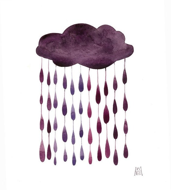 SALE Violet Raindrops original watercolor painting