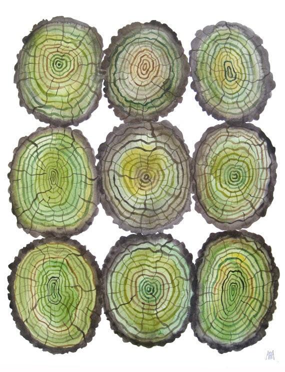 Giant Log Heap large original watercolor painting