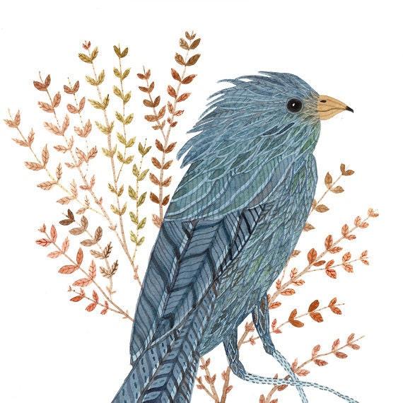 Time Stood Still VI bird art original watercolor painting