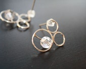 Lyra earrings - one of a kind silver and faceted czech glass