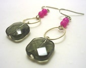 Cherries on Top - Faceted clear jet glass squares, hand forged sterling silver links and pink Jade rounds