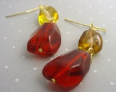 Subtle Flamenco Earrings - Chunky red glass and citrine glass nuggets