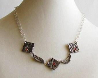 Precious Metal Clay Necklace - Metal Clay Jewelry - Floral Jewelry
