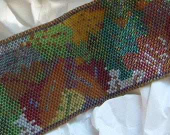 Long Colorful Autumn Leaves Cuff Bracelet Pattern PDF