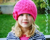 PDF pattern - Crochet Hat Pattern - Girls Shell Hat - EASY - big kid, child size - Fun Photography Prop