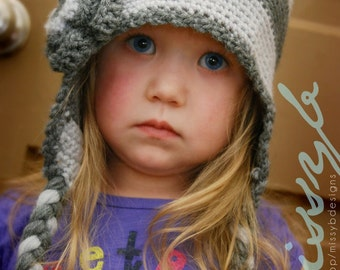 Crochet Hat Pattern - Striped Flap Hat - EASY to make - kid size - PDF pattern - Fun Photography Prop - Instant Download