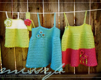 Cute Crochet Dress Pattern - Tess Summer Shirt or Dress - Make it Any Custom Size - PDF pattern - Instant Download