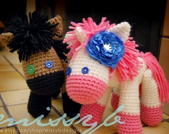 Crochet Horse and Unicorn Pattern - Stuffed Animal with Moveable Legs - PDF pattern - Instant Download