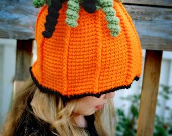 Cute Crochet Pumpkin Hat - child size - girl or boy - PDF pattern - Fun Photography Prop - Instant Download