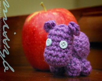 Cute Little Crochet Hippo Pattern - Miniature Stuffed Hippo Toy - amigurumi pattern - Instant Download