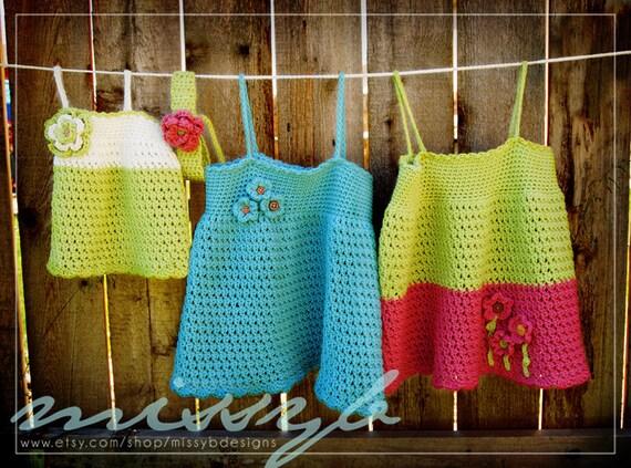 Cute Crochet Dress Pattern - Tess Summer Shirt or Dress - Make it Any Custom Size - PDF pattern - Instant Download