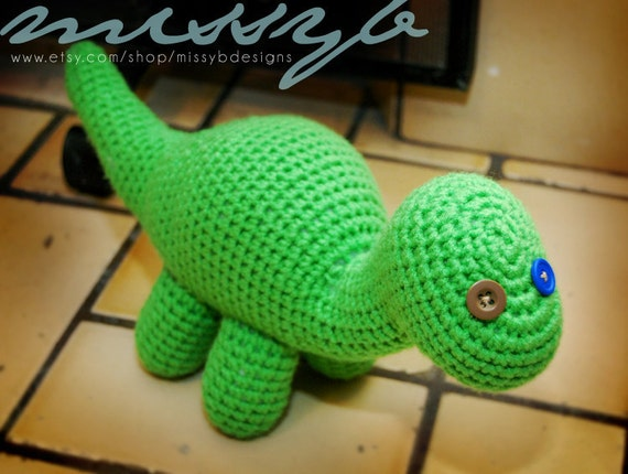 Crochet Dinosaur : Crochet Dinosaur Pattern - Bob the Dinosaur - Stuffed Long Neck ...