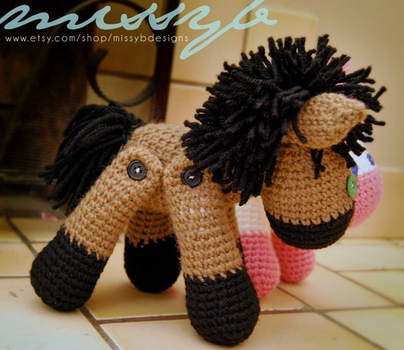 Horse and Unicorn Crochet Pattern - Stuffed Animal with Moveable Legs - PDF pattern - Instant Download