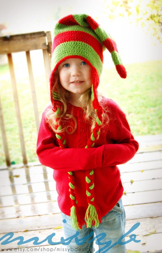 Child Elf Hat Crochet Pattern : Items similar to Crochet Hat Pattern - Christmas Elf Hat ...
