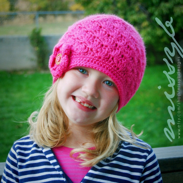 Crochet Pattern Hat Girl : Easy Crochet Hat Pattern Girls Shell Hat child by ...