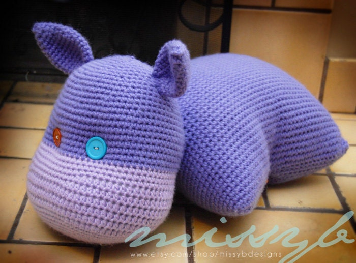 Crochet Hippo Pillow Pet Pattern Hippo Stuffed by ...
