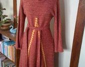 Vintage Cowl Neck Woven Winter Dress M