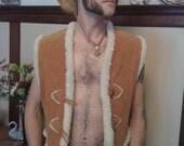 Fabulous Vintage Suede Vest With Faux Wooly Lining M-L