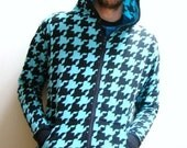 Made to order - Guys turquoise and black houndstooth hoodie