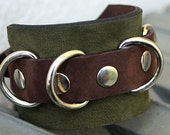 CLEARANCE - Forest Metal D-Ring, Moss Green and Rustic Brown Leather Cuff Bracelet