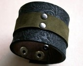 Leather Cuff Bracelet Forest Romance  Black Floral and Moss Green