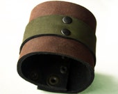 Leather Cuff Bracelet - Rustic Brown and Moss Green