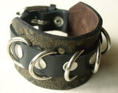 Sale - Leather Cuff Bracelet Monster Brown and Black  With Metal D-Rings