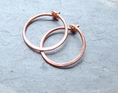 Small Copper Hoops Hammered Copper Hoops minimalist jewelry