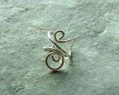 Sterling Silver Ear Cuff single Silver Swirl Earcuff, eco friendly minimalist jewelry, Womens Earring