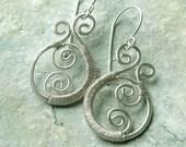 Silver Paisley Earrings Silver Wire Wrap Earrings eco friendly dangle earring holiday jewelry