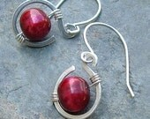 Pearl Earrings Small Silver Coils Raspberry Red Pearls, Spring fashion june birthstone