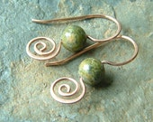 Copper Earrings Unakite Copper Coiled Earrings, summer fashion