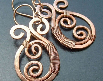 Copper Earrings Copper Wire Wrap Earrings Paisley, eco friendly copper jewelry spring fashion