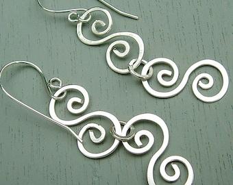 Silver Swirl Earrings Double Silver Swirls dangle earrings eco friendly statement jewelry