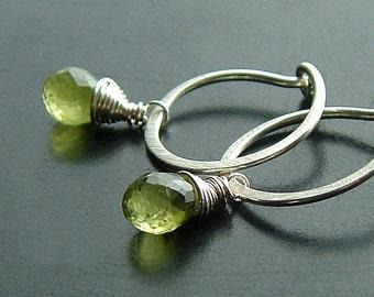Silver Hoop Earrings Peridot Earring Sterling Silver Small Drop Dangle Hoops, eco friendly birthstone jewelry, Key Lime