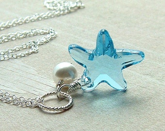 Crystal Starfish Necklace Sterling Silver Pendant Pastel Beach Summer Fashion Jewelry Aquamarine Star fish, Under the Sea