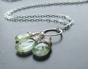 Moss Aquamarine Necklace Sterling Silver Pendant Wire Wrapped Birthstone Gift, Womens jewelry gift for her, wife gift, girlfriend gift