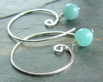Amazonite Earring Sterling Silver Hoop Earrings Pastel Blue Open Hoops eco friendly jewelry for women, Gift for Her, Stocking stuffer