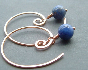 Hoop Dangle Earrings Blue Sodalite Copper Open Hoops eco friendly copper jewelry, Boysenberry