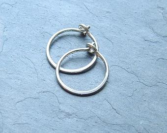 Sterling Silver Hoop Earrings Hammered Simple Hoops eco friendly geometric jewelry, minimal hoop earrings, choose your size