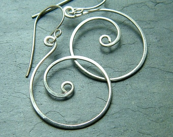 Hoop Earrings Coiled Hoops Sterling Silver Dangle Hoop eco friendly organic Earrings for women, Whirlwind