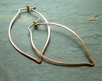Hoop Earrings Copper Leaf Hoops minimalist Hoop copper dangle eco friendly jewelry
