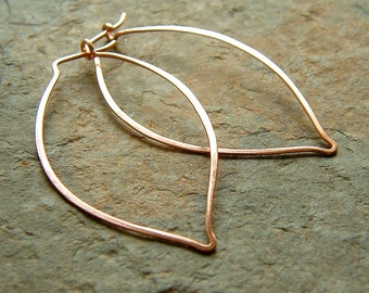 Copper Hoop Earrings Copper Leaf Hoops eco friendly botanical organic earth day jewelry, minimal hoop earrings, Leaves